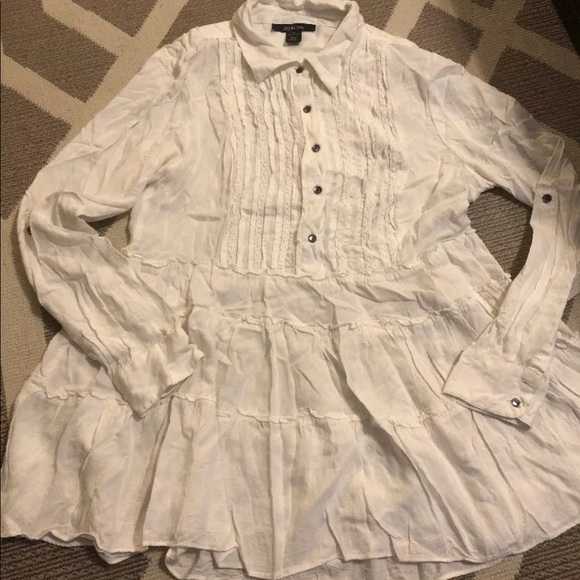 Style & Co Tops - Style & Co White Ruffle Blouse sz S Button Down